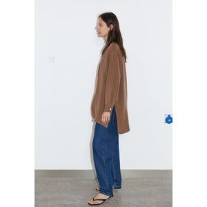 Zara | camel blouse with slits long tunic